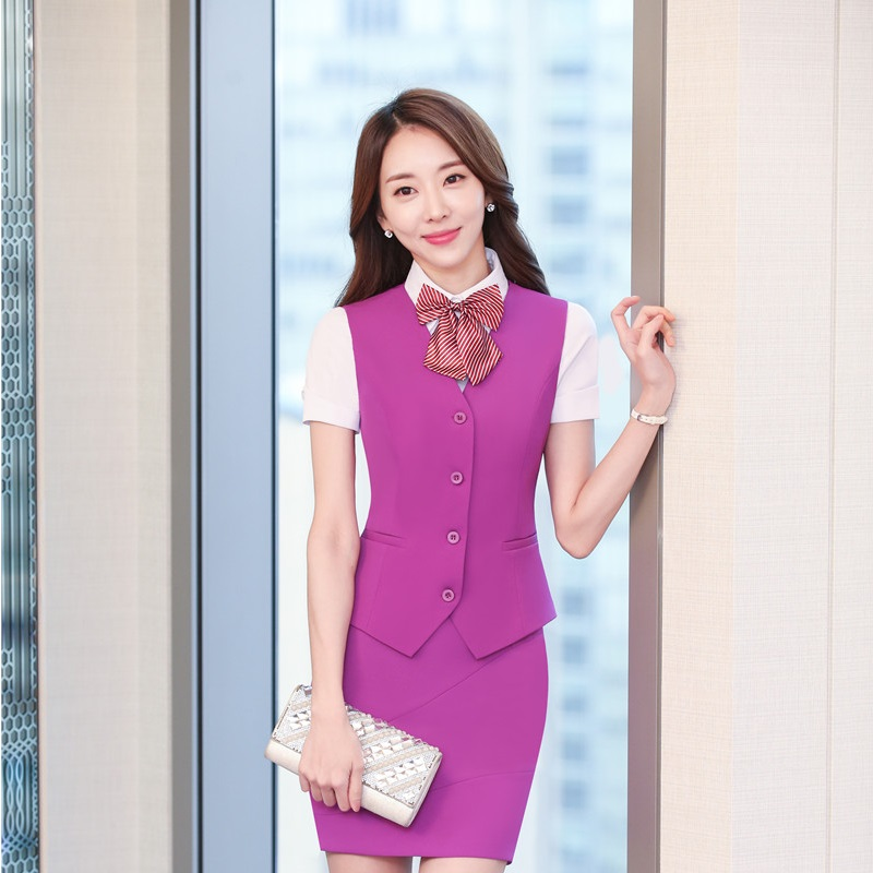 New Fashion Elegant Purple Slim Fit Blazers Suits With Vest And Skirt For Ladies Office Work Wear Business Women Uniform Outfits