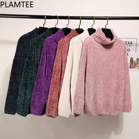PLAMTEE 6 Colors Women S Turtleneck Sweater Velvet Casual Loose Knitted Sweater Warm Thick Pullovers All