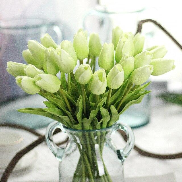 30 Pcs Tulipe Fleur Latex Pour Le Mariage Parti Fleur Blanche Dans