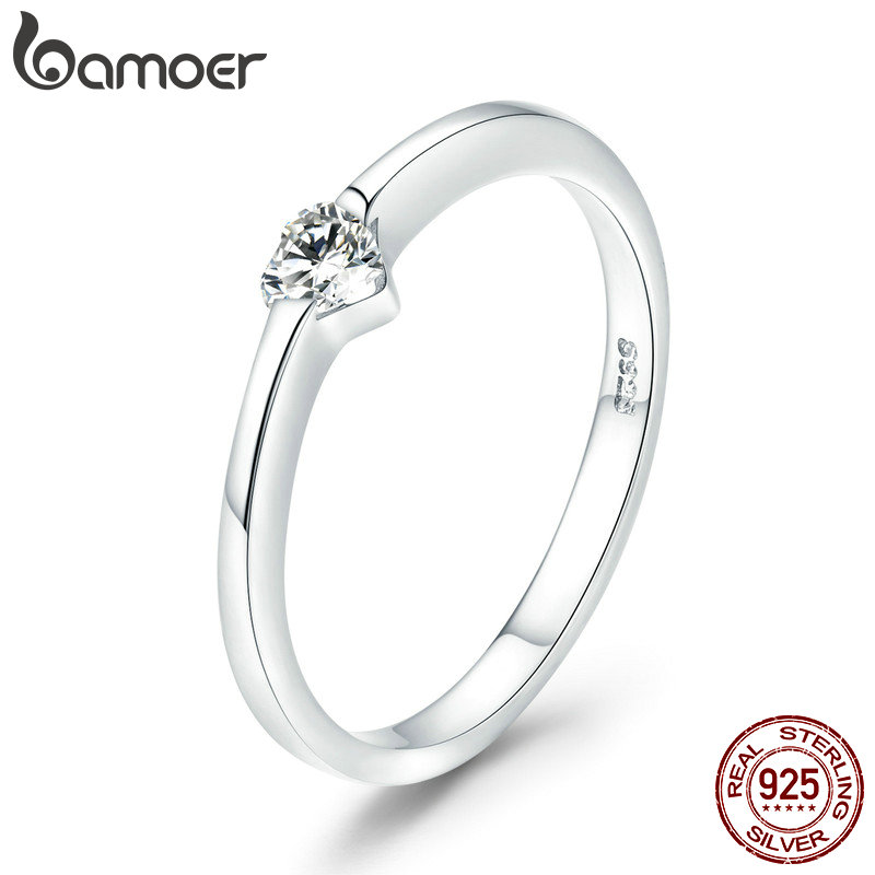 BAMOER Authentic 925 Sterling Silver Luminous Finger Ring Simple Heart Wedding Rings for Women Wedding Engagement Jewelry SCR450 simple 925 sterling silver round rainbow natural moonstone rings for women girls wedding engagement jewelry finger bague aneis