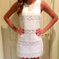 2017 Summer Women Dress Casual Lace Solid Party Mini Dress Ladies Sexy White Dress Vestidos Plus Size Women Clothing