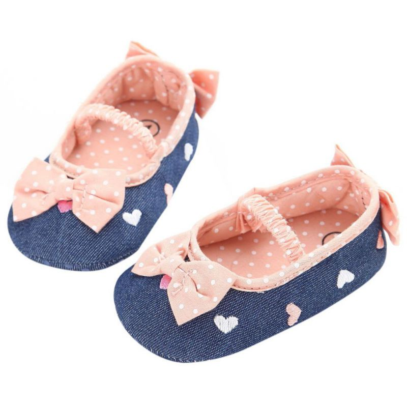 Spring Summer Baby Girls First Walkers Shoes Slip on Soft Sole Crib Bowknot Princess Shoes Sneakers 0-18M