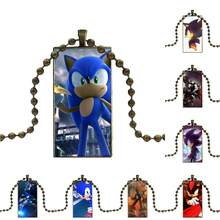 Sega Shadow Sonic The Hedgehog For Kids Beads Bronze Color Glass Cabochon With Rectangle Shaped Pendant Choker Necklace(China)
