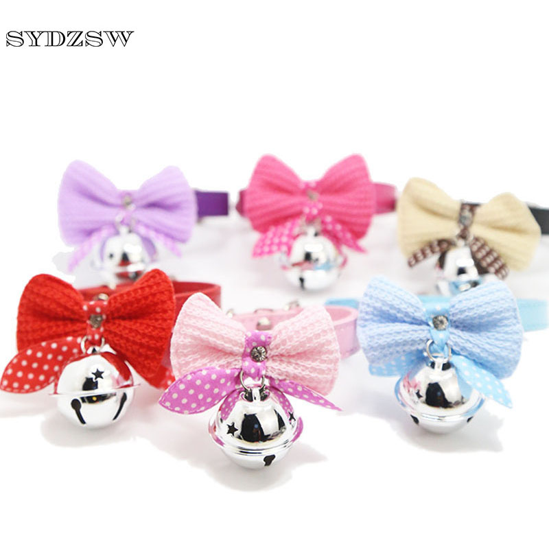 SYDZSW Cat Puppy Dog Pet Collar Knitting Wool Bow Tie Leather Neck Safety Bowtie Collar with Cute Big Bell Adjustable S M Size