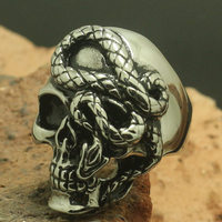 Size 7 to Size 16 Unisex 316L Stainless Steel Silver Skull Snake Ring Wholesale Price