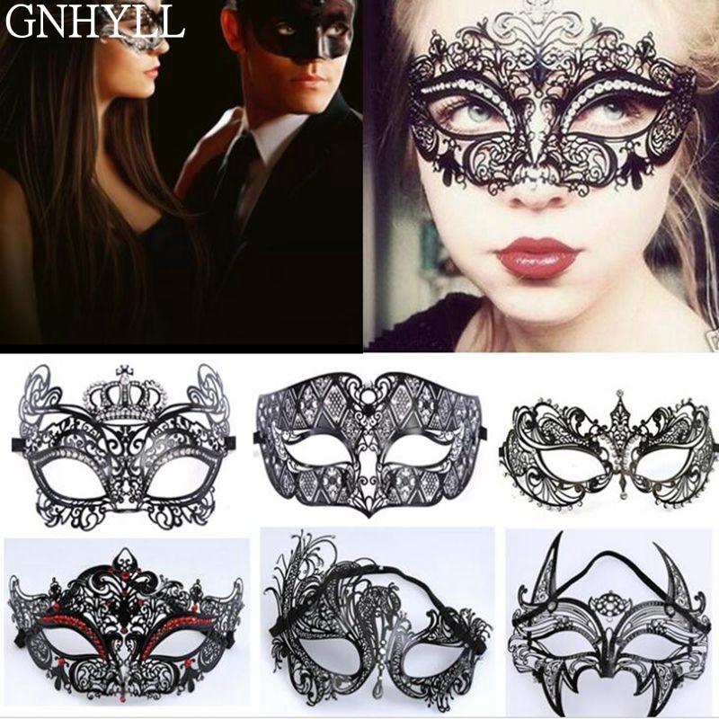 Мужской женский Венецианский металлический костюм Фантом с золотым черепом, Маскарадная маска для вечеринки, лазерная резка, маски для Хэл...