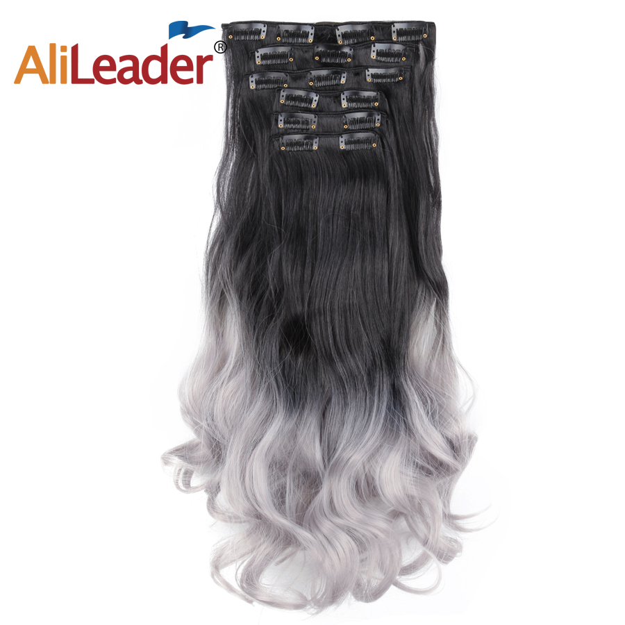 Alileader 6Pcs Synthetic Body Wave Long Clip In Hair Extension 22Inch Natural Heat Resistant Hairpiece For Women Grey Ombre Hair