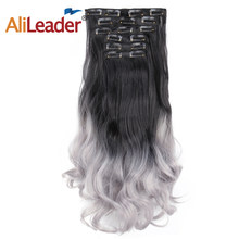 Alileader Synthetic Body Wave Long Clip In Hair Extensions Natural Heat Resistant Hairpiece For Human Women Grey Omber Hair(China)