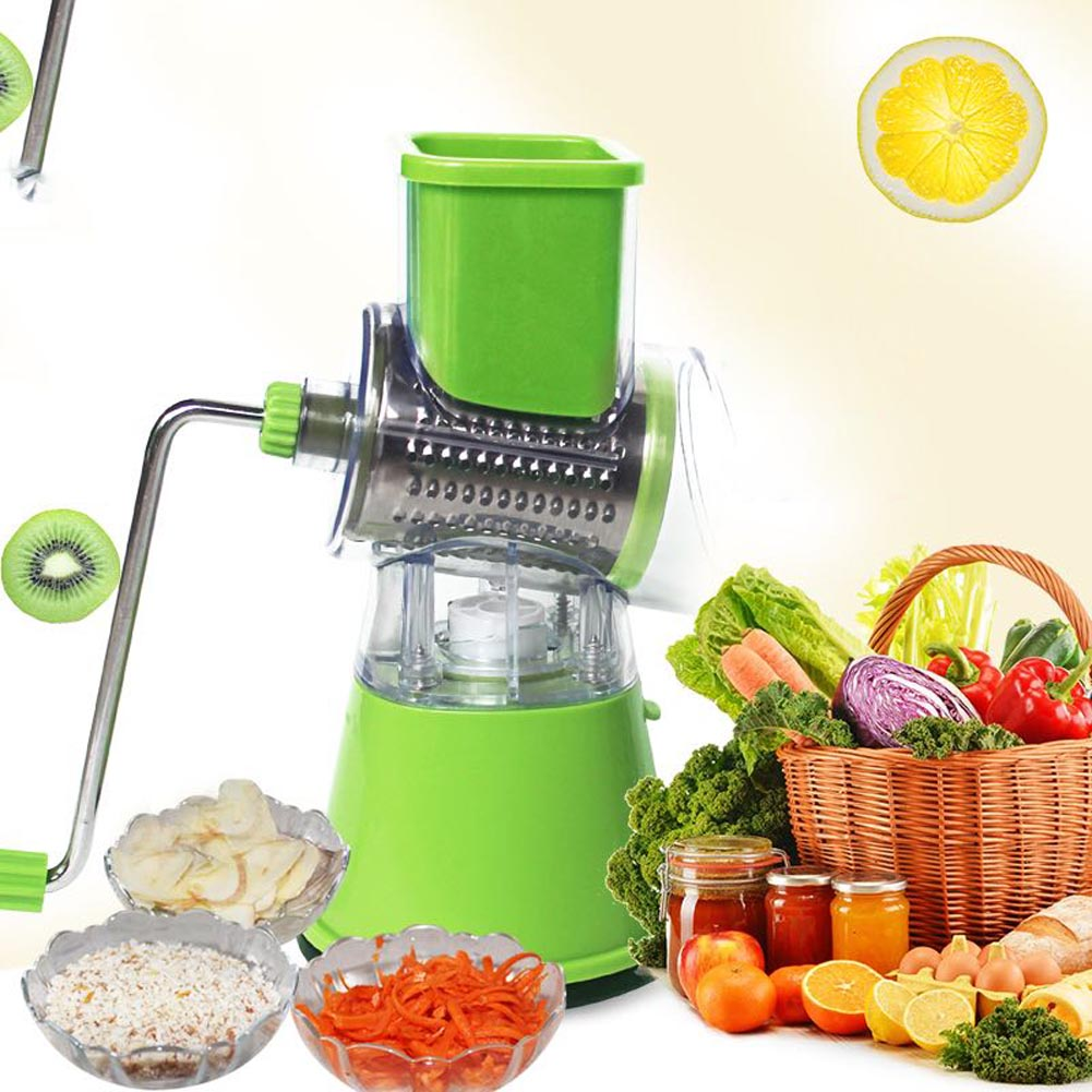 Stainless Steel Plastic Cheese Potato Shredder Rotary Drum Grater Vegetables Fruits Cutter Slicer J2Y