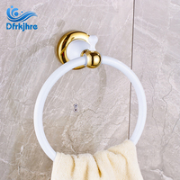 Wholse And Retail Bathroom Towel Ring Wall Mounted Solid Brass White And Golden Color