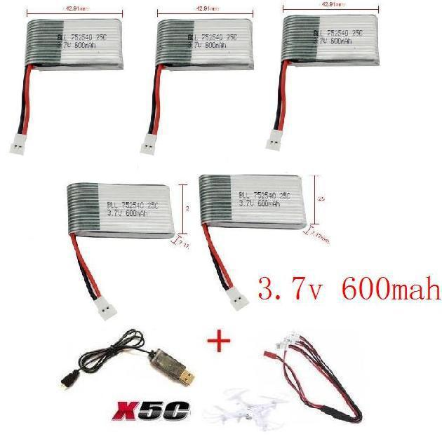 YUKALA x5c x5 x5sc x5sw 2.4G RC quadcopter 3.7v 600mah Li-polymer battery with USB cable free shipping