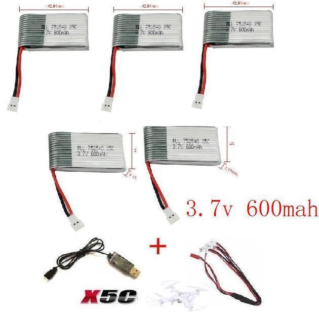 x5c x5 x5sc x5sw 2.4G RC quadcopter 3.7v 600mah Li polymer battery with USB cable