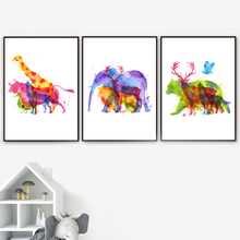 Watercolor Giraffe Deer Bear Lion Wolf Nordic Poster And Prints Wall Art Canvas Painting Picture For Living Room Home Decor