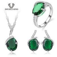 DOUBLE R создан Изумрудный камень Обручальные серьги кольцо циркона 925 Ожерелье цепочка, серебро набор украшений для женщин