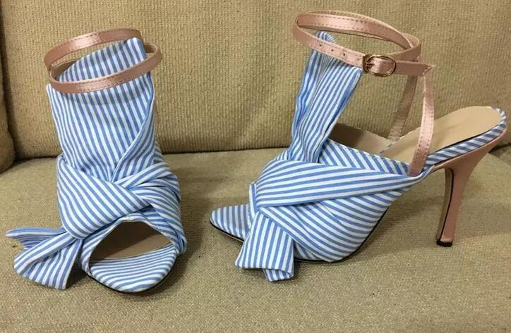 где купить Summer New Arrival Women Sandals Blue Stripe Butterfly-knot High Heels Ankle Strap Buckle Pump Thin Heels Sexy Open Toe Shoes дешево