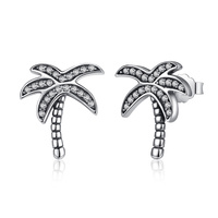 925 Sterling Silver Coconut Trees Earrings Charm With Clear Cubic Zirconia For Women Gift