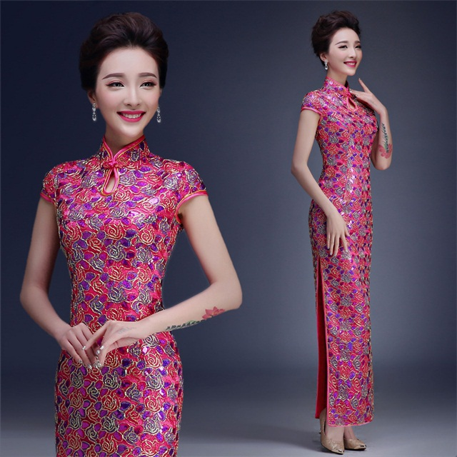 New Arrival Pink Chinese Lady Brocade Long Cheongsam Qipao Bridesmaid Evening Dress/Qipao Size S M L XL XXL QS15 new c5pm2 dc02002ql00 for acer vx5 591g lcd lvds cable 30pin