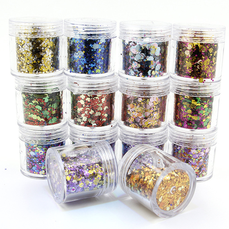50g/bag 18 Colors Available Laser Nail Flakes 0.2mm-1mm-2mm Mixed Sequins Glitter Flake For Nails Art Shinning 3D 50G