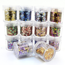 50g/bag 18 Colors Available Laser Nail Flakes 0.2mm-1mm-2mm Mixed Sequins Glitter Flake For Nails Art Shinning 3D Nail Flake 50G цена