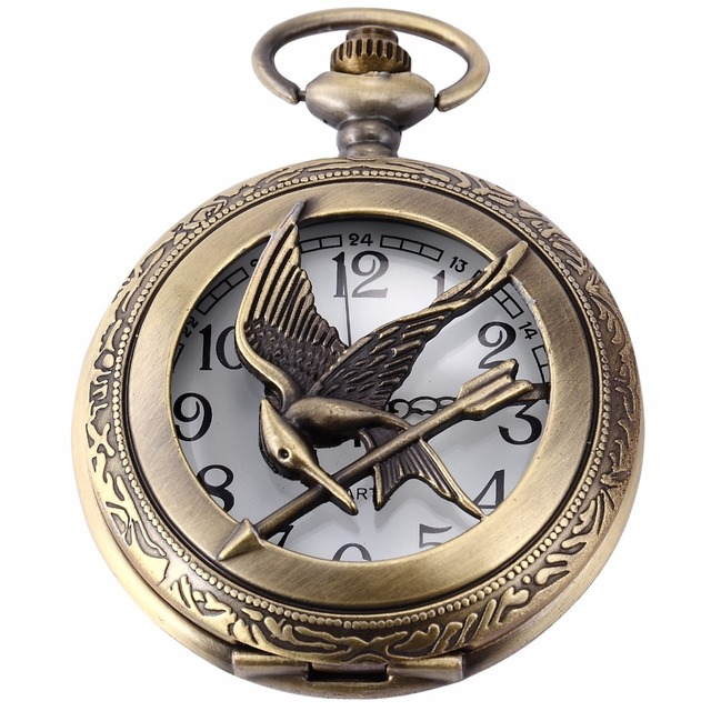 Classic eagle skeleton hollow the hunger games mockingjay copper classic eagle skeleton hollow the hunger games mockingjay copper hunter quartz pendant fob clip chain pocket aloadofball Images