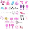 Barbie doll set de accesorios de joyería de moda collar pendiente del bowknot crown accesorios muñecas embroma el regalo pretend play house regalo