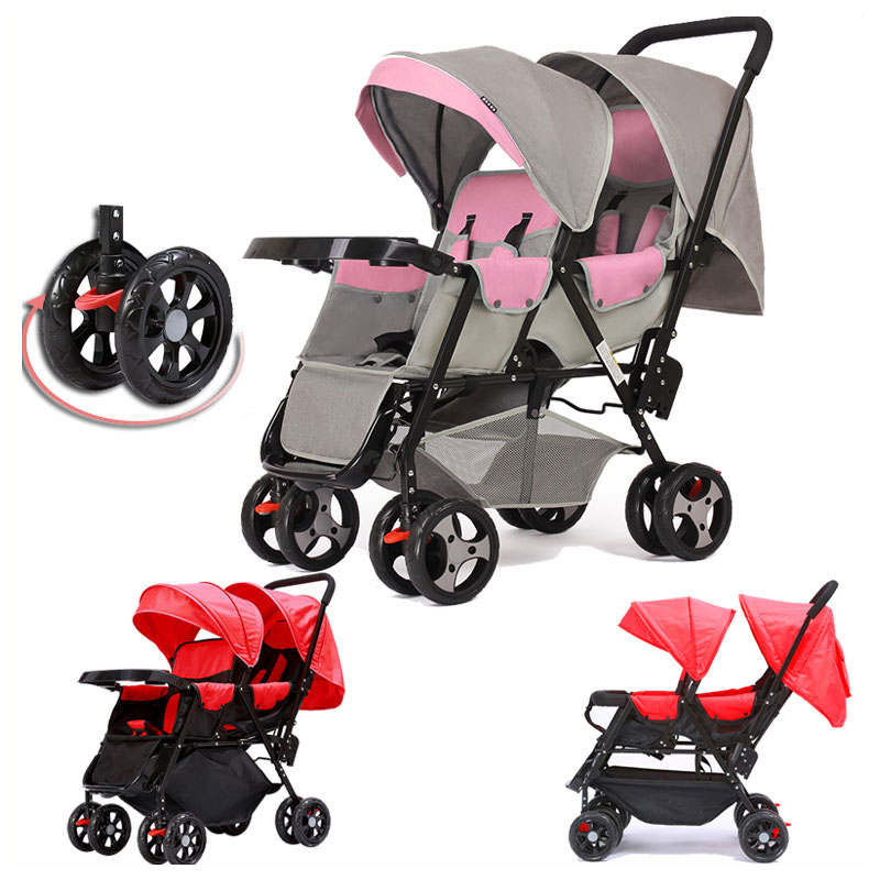 360 Degree Omni directional Wheels Twins Baby Stroller Baby Carriage Car Light Double Twin Stroller for Babies Trolley Pushchair