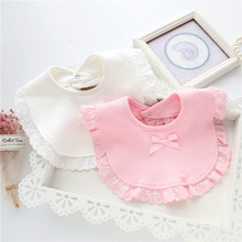 цена на Baby Bibs Bandana Bibs Burp 100% Cotton Lace Bow Pink and White Bib Baby Girl Lovely Bib Bandana Infant Saliva Towels baby stuff