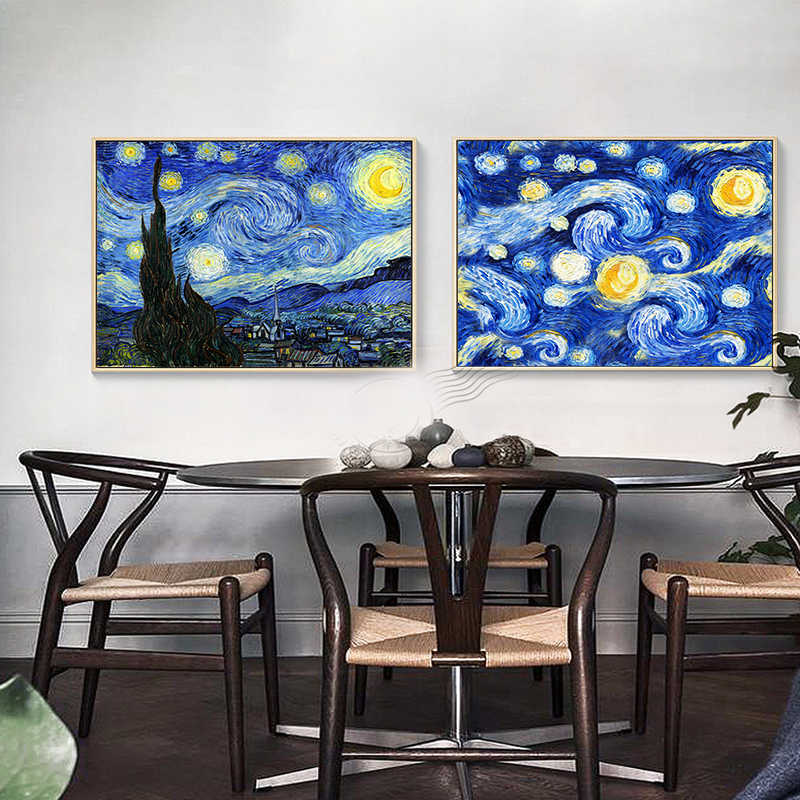 Canvas Painting Decoration Famous painter Vincent Van Gogh Starry Night Oil Painting Room Decor Poster Canvas Pictures No Frame
