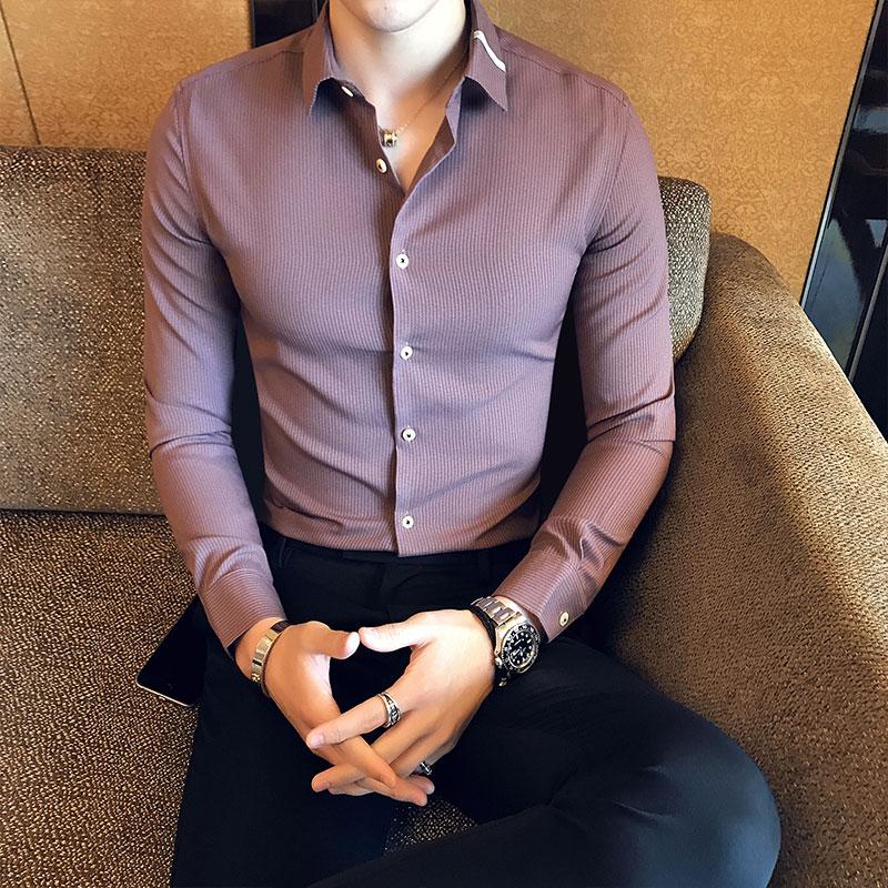 104816959d 2018 nova primavera dos homens camisa longa-sleeved bonito Coreano de Slim  tendência estilista de