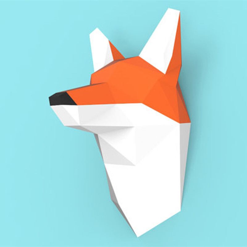 3D Paper Model Fox Head Papercraft Home Decor Wall Decoration Puzzles Educational DIY Kids Toys Birthday Gift 885