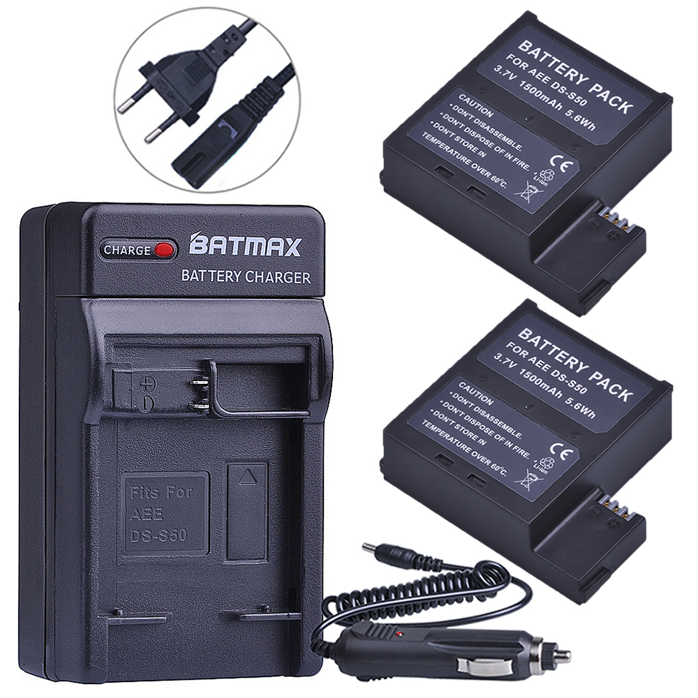 2 piezas 1500 mAh DS-S50 DSS50 S50 baterías Akku + EU/US cargador Kits para AEE DS-S50 S50 AEE d33 S50 S51 S60 S71 S70 cámaras batería