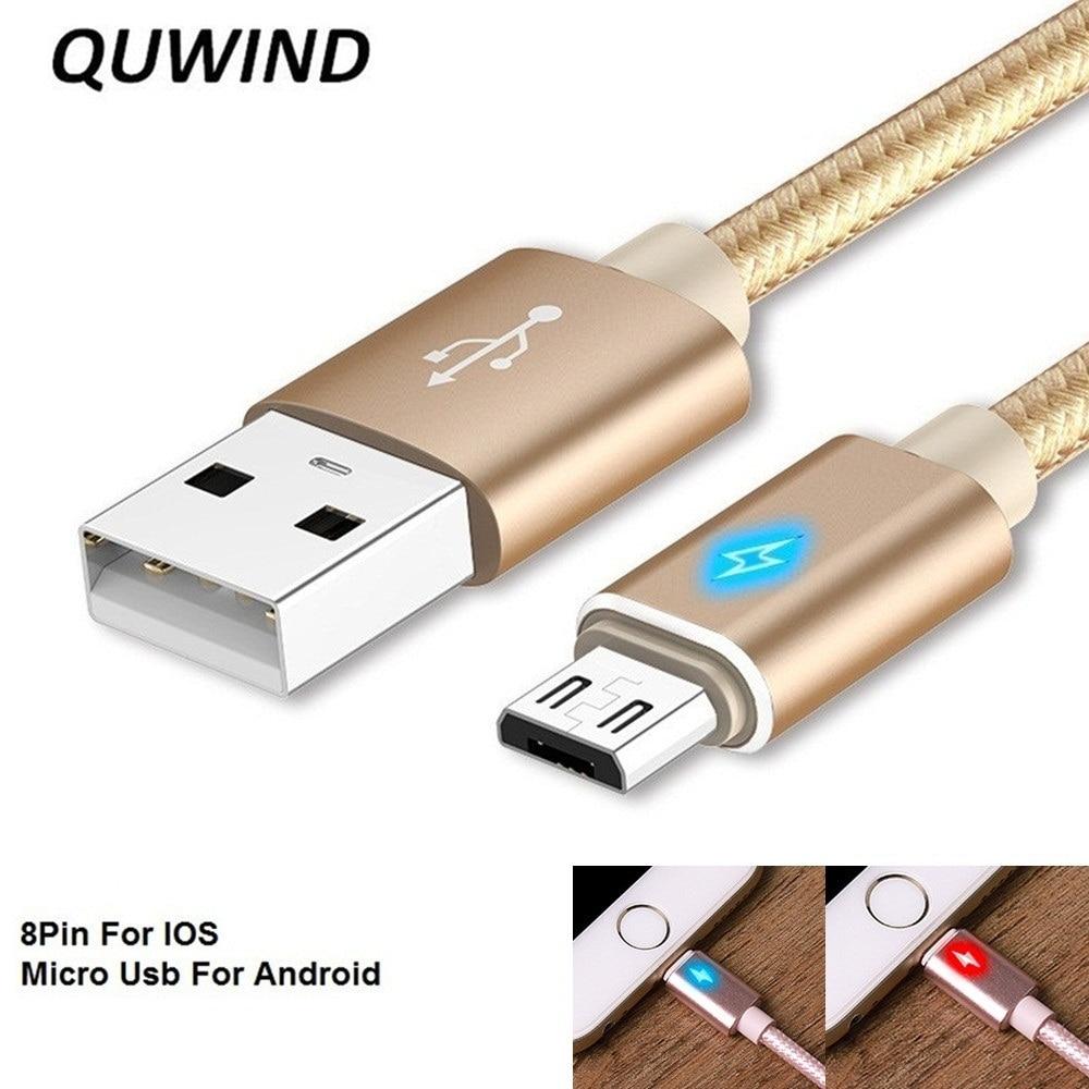 QuWind 1 M 3.3FT 2M 6.6FT LED Weave USB Charging Data