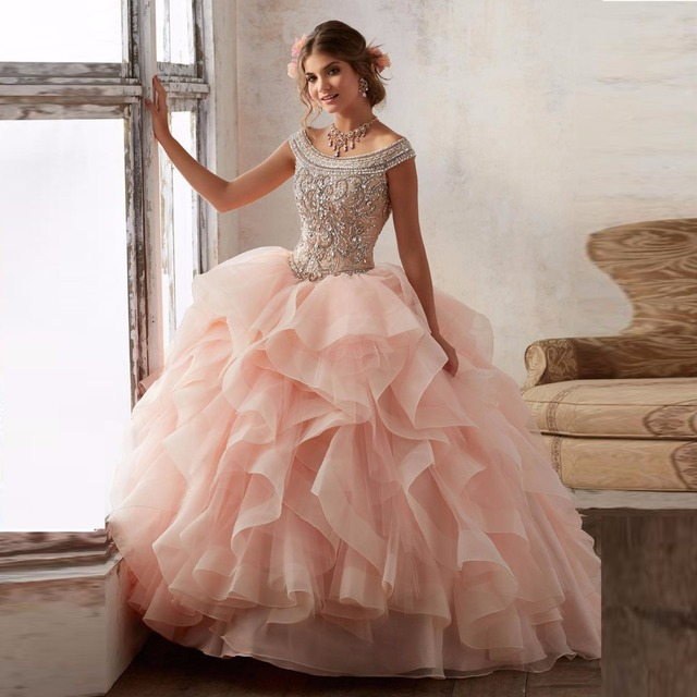 9595bba6767 Gorgeous Peach Turquoise Ruffles Ball Gown Quinceanera Dresses 2017 Cap  Sleeve Beaded Cheap Vestidos De 15