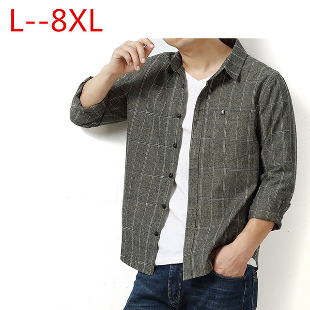 Autumn Plaid Cotton Long-Sleeved Men's Shirt 1