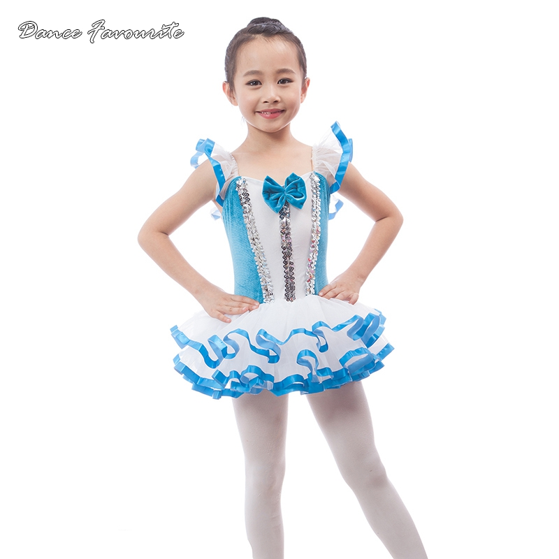 Dance Favourite blue velvet with white spadex bodice ballet tutu girl stage performance ballet costume ballerina dance tutu