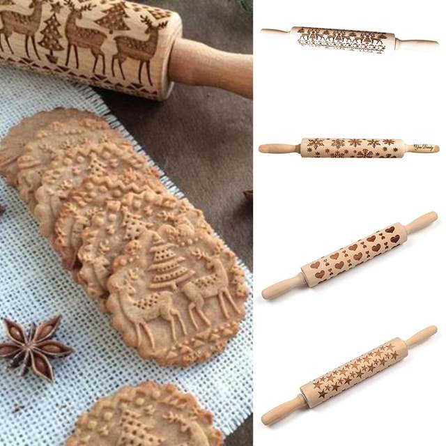 Christmas patterned Embossed Rolling Pin Engraved Embossing for Baking Wood  pastry boards fondant Craft toy for children