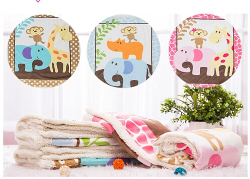 Hot Sale Warm Winter Fleece Baby Blanket Newborn Fleece Blanket Safari Sherpa Bedding Luvable Friends Baby Blanket & Swaddling-3