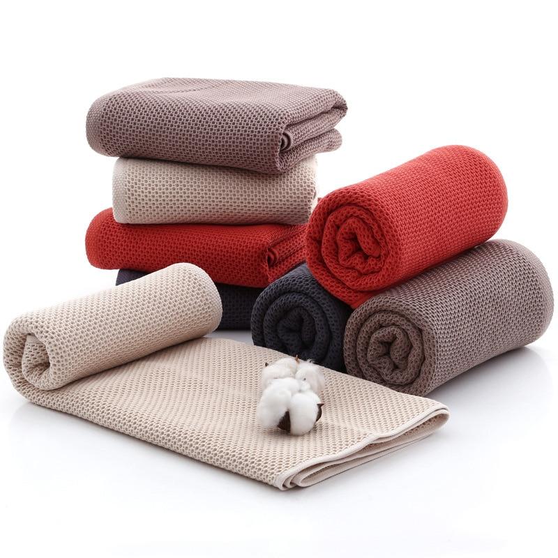70x140cm Honeycomb Breathable Bath Towel Elegant Absorbent Cotton Bathroom Solid Bath Towels Soft Comfortable Towel for Adult