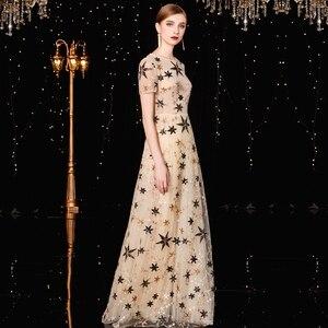 Image 4 - Jancember vestido フォーマル mujer 高ネック a ライン半袖イリュージョンスパンコールエレガントなカクテルドレス коктельное платье