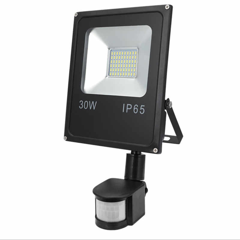 Ultrathin LED Floodlight 10W 20W 30W 50W Spotlight With PIR Motion Sensor Detector waterproof 100W Outdoor led Search Light Pir
