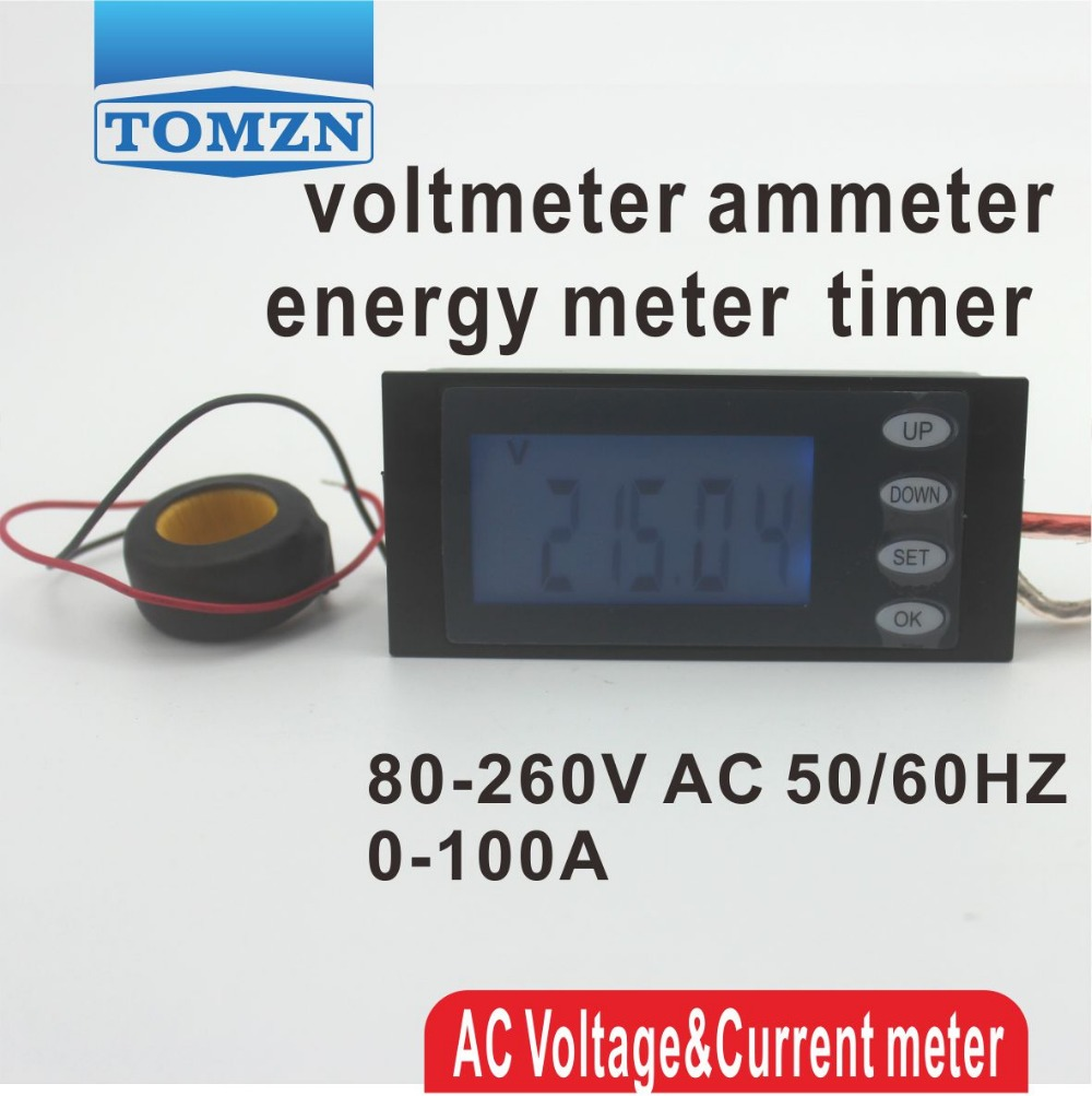 LCD 5IN1 display 100A Voltage current active power energy meter blue backlight panel voltmeter ammeter kwh 80-260V 50/60HZ