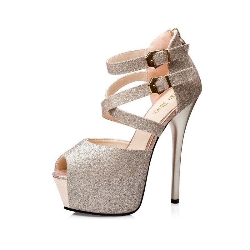 Free shipping women's summer hollow buckle thin heel cross straps sandals platform peep toe high heel shoes