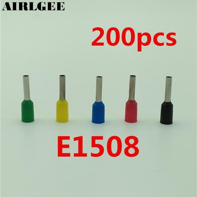 200 Pcs 1.5mm2 E1508 Tube Pre Insulated Wiring Ferrule Terminals ...