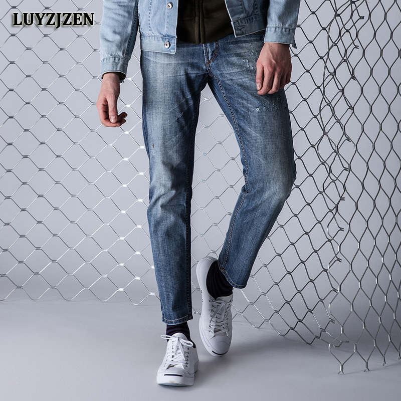 2017 New Autumn Men Straight Denim Jeans Trousers Plus Size High Quality Soft Casual Cotton Clothing Man Board Pants LUYZJZEN F6 купить