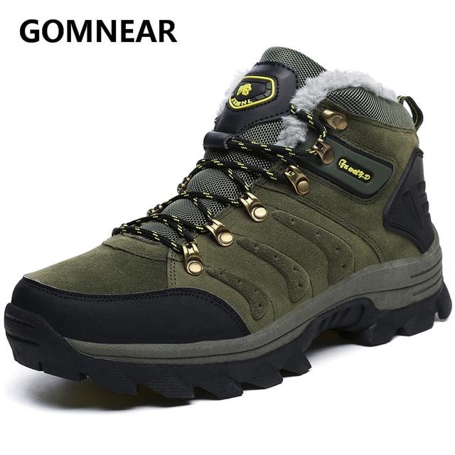 GOMNEAR Big Size New Arrival  Winter Men Warming  Fur Hiking boots Outdoor Antiskid Trekking Sports Shoes Men Hiking Sneaker
