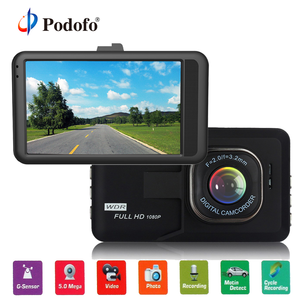 Podofo Car DVR 3.0 inch Dash Camera FH06 HD Video Recorder G-sensor Registrator Parking Dash Cam Vehicle Camera Car Cam Blackbox g52d ambarella a7 car dvr camera hd video recorder blackbox with g sensor dash cam