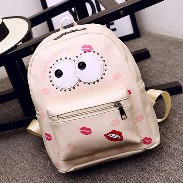 Online Shop PU Leather Women Backpack Cartoon Big Eye Cute Bag for Girls  Kids Fashion School Bags Children Mini Backpack BP0087  70f406067595a