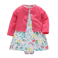 18 Colors 2pcs Baby Children Kids Spring Summer Girl Clothing 2 Piece Set Bodysuit Embroidery Dress