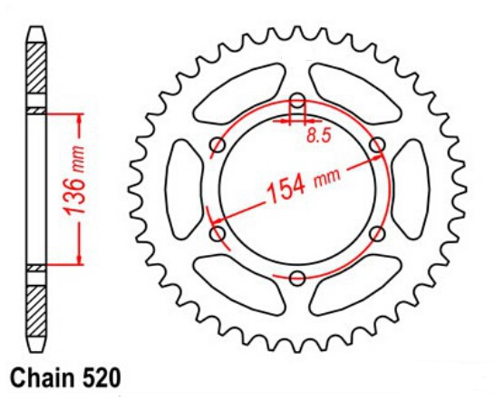 LOPOR 520 47T Motorcycle Rear Sprocket For BMW 650 X challenge 2007 2008 650 X country 2007 2008 Motorbike part in Sprockets from Automobiles Motorcycles