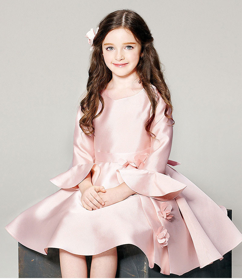 Autumn Winter New Girl Flower Dress Clothes Pink Birthday Evening Party Pageant Dress For Princess Kids 10 Years